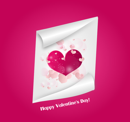 shiny heart: White paper sheet with pink shiny heart on pink background