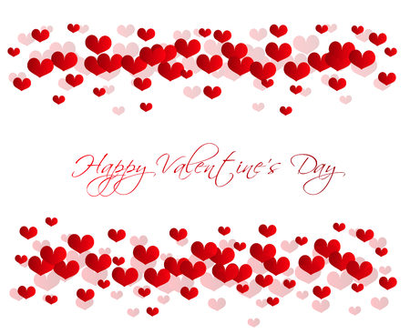 valentine card: Greeting card to valentine with small red hearts on white background Stock Photo