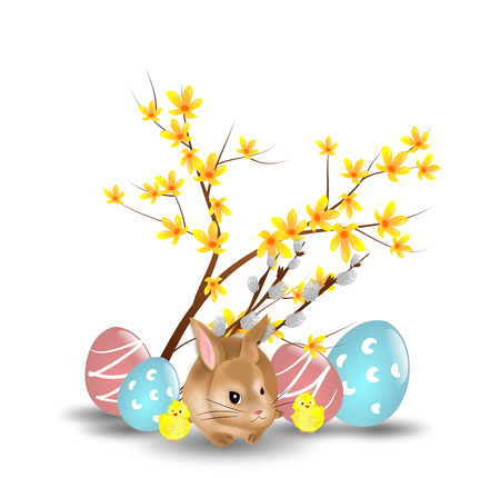 tender: Easter decoration with easter rabbit and easter eggs Stock Photo
