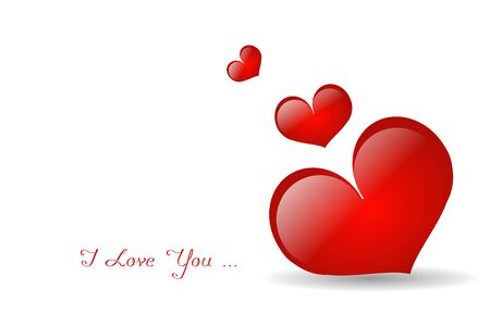 Illustration of red hearts on white background with text I love you