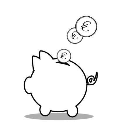 money box: Illustration of pig money box with coins
