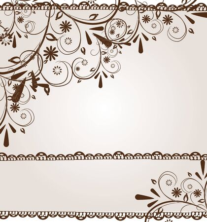 floral ornaments: Illustration of white background with brown floral ornaments