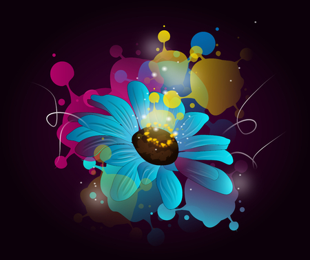 Blue flower with colorful splash and shining decoration