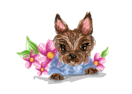 yorkshire: Cute small yorkshire dog with flowers illustration