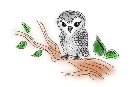 a twig: Illustration of white owl sitting on twig of tree
