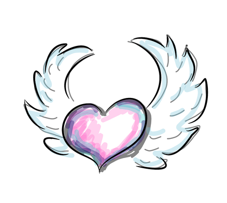 Beautiful illustration of colorful heart with wings Stock Photo
