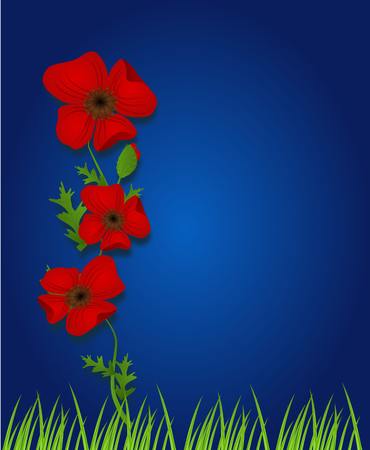 weeds: Blue background decorated with red weeds and grass