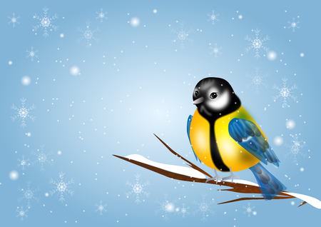 chickadee: Illustration of chickadee in snowy background with snowflakes Stock Photo