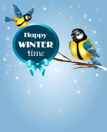 chickadee: Illustration of chickadee in snowy background with text Stock Photo