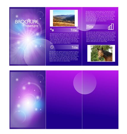 handout: Abstract purple brochure template illustration with three sheets Stock Photo