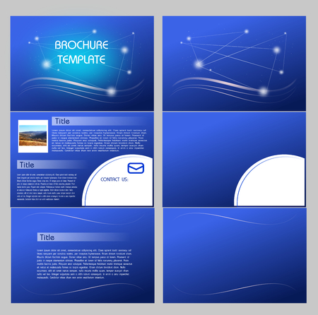 handout: Abstract blue brochure template illustration with three sheets