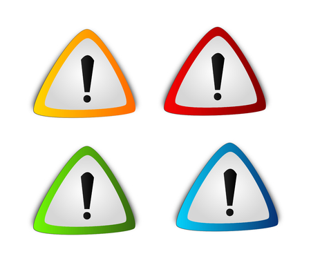 premonition: Illustration of four different colored warning triangles