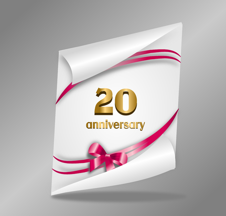 gloss: White paper sheet with 20 anniversary text decorated with pink ribbon