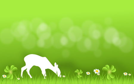 hind: Light green background with hind silhouette grassing on fresh grass