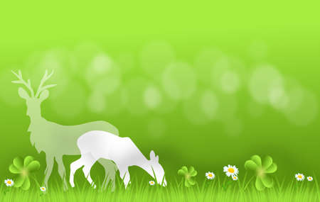 grassing: Light green background with deer silhouette grassing on fresh grass