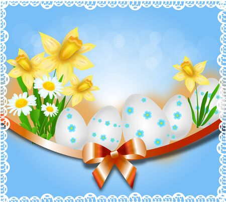 daffodil: Light blue easter background decorated with easter eggs, daffodil and blue ribbon