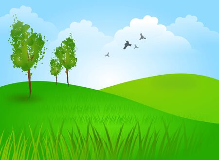 country life: Beautiful illustration of landscape with green hills and tree Stock Photo