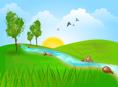 water stream: Beautiful illustration of landscape with hills and river