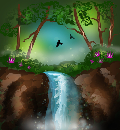 Beautiful illustration of mysterious landscape with waterfall