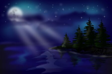 mere: Beautiful illustration of night landscape with trees and lake