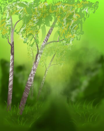 grove: Illustration of light green grove with trees