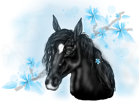 mane: Illustration of black horse head with long mane decorated with light blue flowers