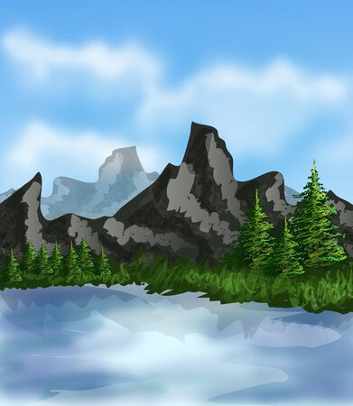mere: Beautiful illustration of landscape with mountain and lake Stock Photo