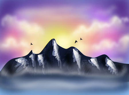 soft peak: Beautiful illustration of top of mountain with sunset sky