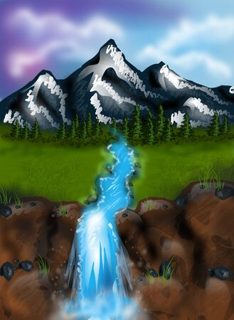 waterfall in forest: Beautiful illustration of landscape with river and huge mountain