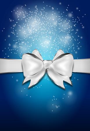 silver ribbon: Illustration of shining blue greeting card with silver ribbon