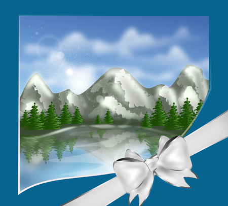 mere: Illustration of mountain landscape on greeting card with silver ribbon