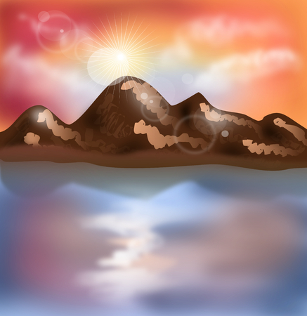 mere: Illustration of mountain landscape in sunset time