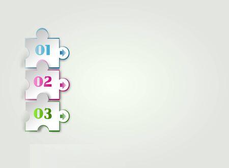 puzzle background: Illustration of white background with three puzzle shapes Stock Photo