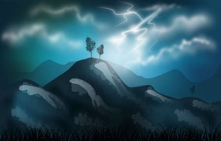 stormy: Beautiful illustrationof stormy landscape with lightning and mountains
