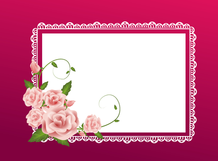wedding invitation card: Elegant pink background with lace and rose decoration
