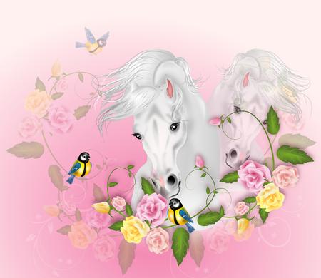 bonito: Ilustración de dos caballos blancos con la decoración de rosas Foto de archivo