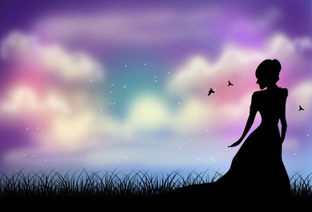 evening sky: Illustration of young woman black silhouette with evening sky in background