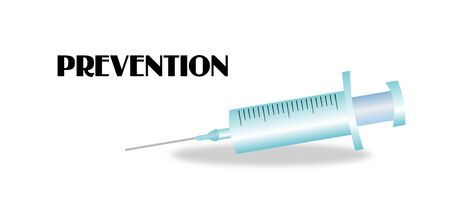 vaccinate: Illustration of injection on white background with text prevention Stock Photo