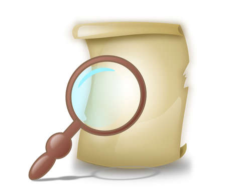 accountancy: Illustration of contract paper sheet under the magnifying glass
