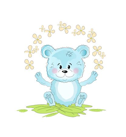 nature one painted: Illustration of cute small blue teddy bear with flowers