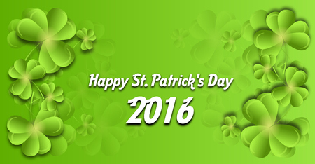 clovers: Illustration of greeting card to st. Patricks Day with clovers in background