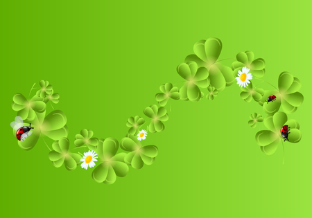 clovers: Illustration of green background decorated with clovers wave