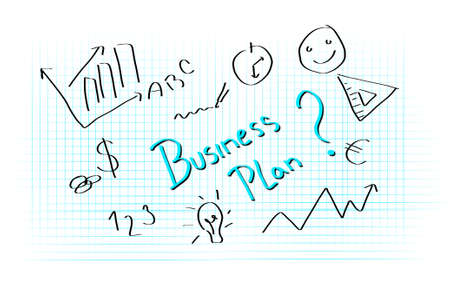 illustratin: Illustratin of hand writing business plan planning