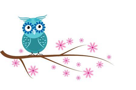 a twig: Illustration of blue owl sitting on blossom tree twig Stock Photo