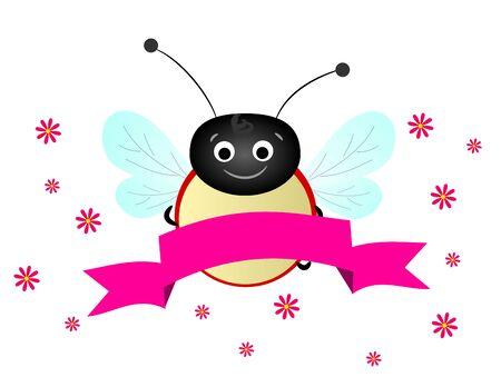 ladybug: Cute illustration of ladybug with pink ribbon
