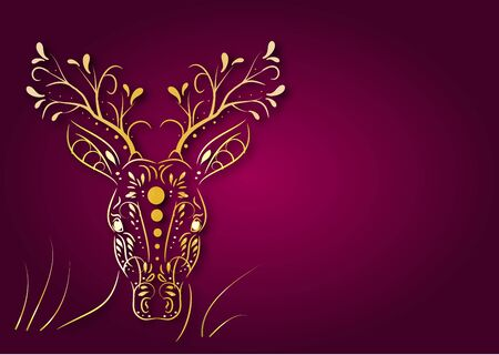 amazing: Illustration of golden art head of deer with dark pink background with space for your text Stock Photo