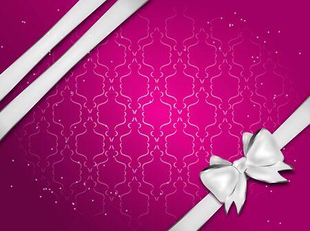 silver ribbon: Elegant pink greeting card with silver ribbon and bow Stock Photo