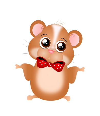 big eye: Illustration of cute small hamster with big eye and red bow