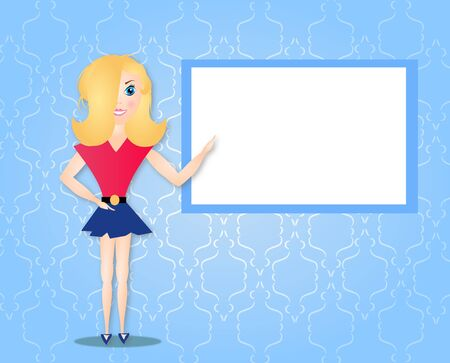 fashioned: Illustration of modern fashioned girl with blank white board in background