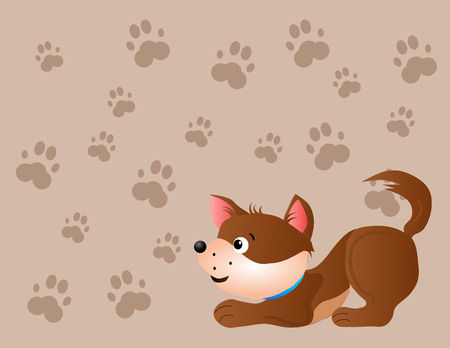 light brown: Illustration of cute brown dog on light brown background with paws